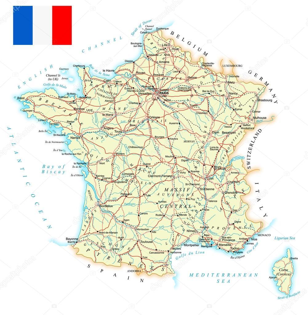 mapa de frança detalhado Ilustração de França   mapa detalhado  — Vetor de Stock  mapa de frança detalhado