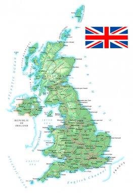 United Kingdom - detailed topographic map - illustration.