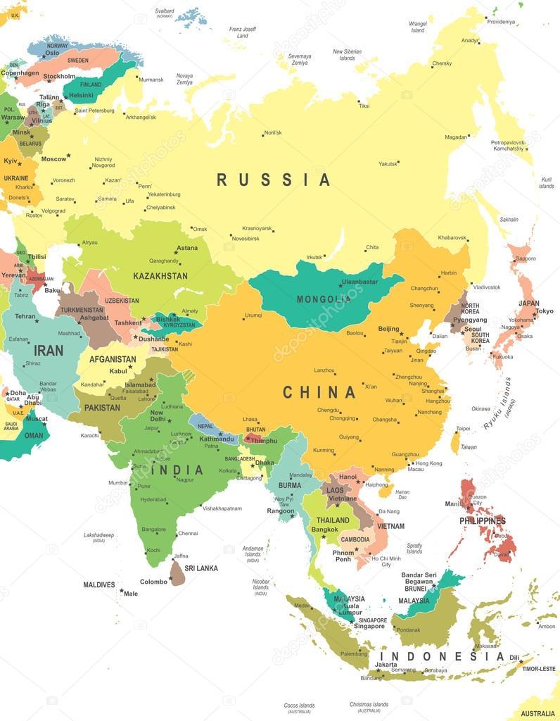 karta över asien på svenska Asien   karta   illustration — Stock Vektor © dikobrazik #78738038 karta över asien på svenska