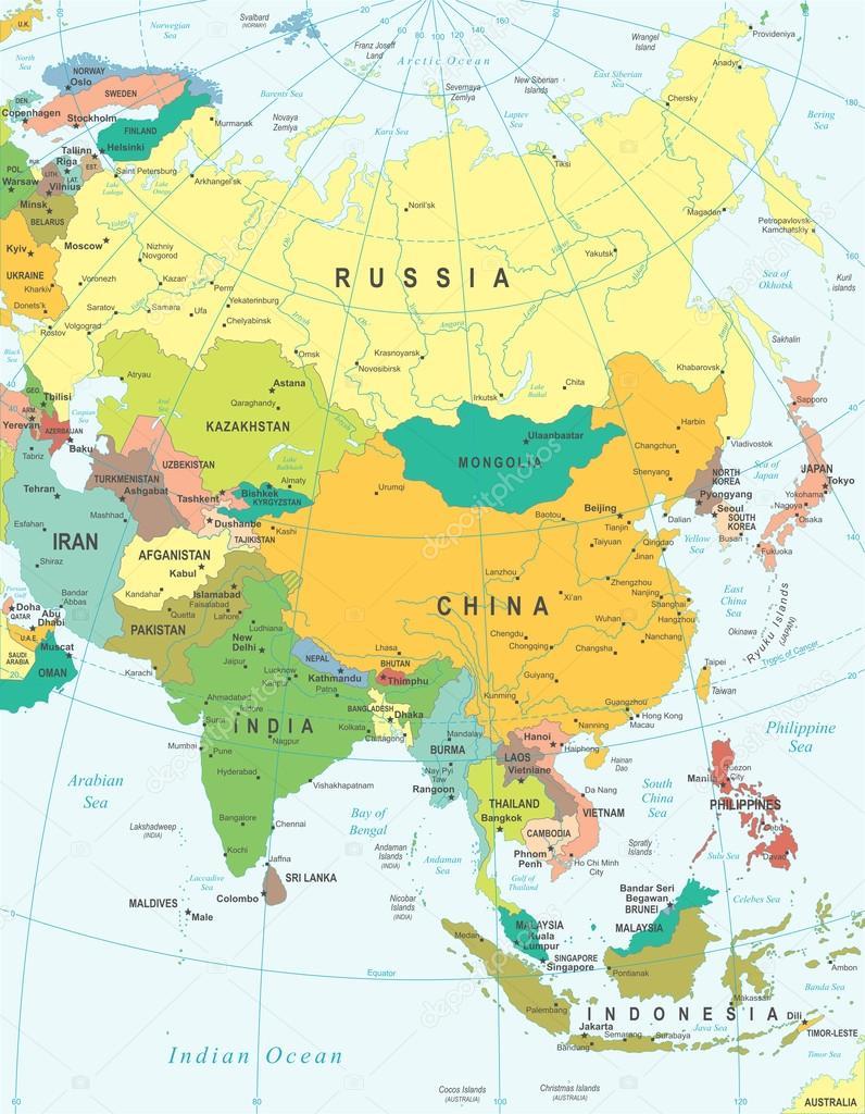 Asia Map Illustration Stock Vector C Dikobrazik 78739320