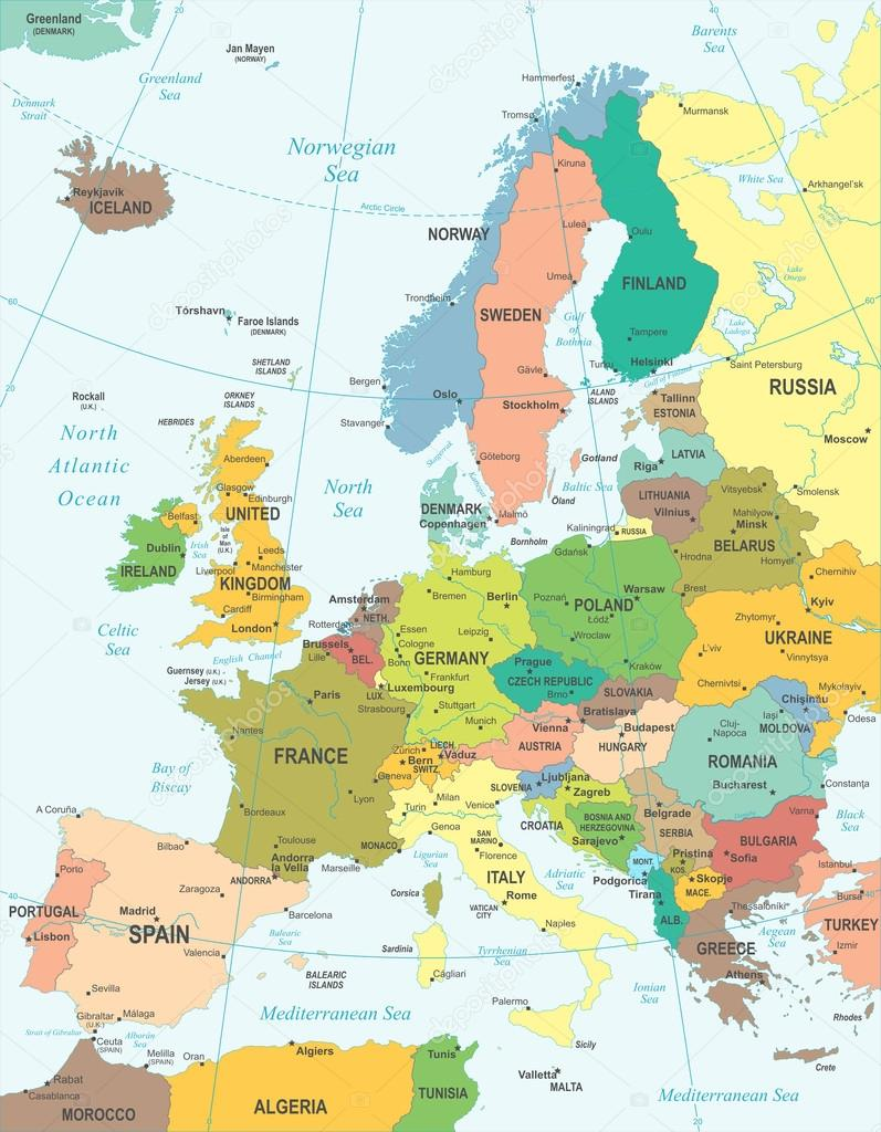 Karta Europa Pa Svenska.Europa Karta Illustration Stock Vektor C Dikobrazik 79357834
