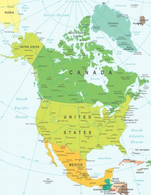 North America - map - illustration.