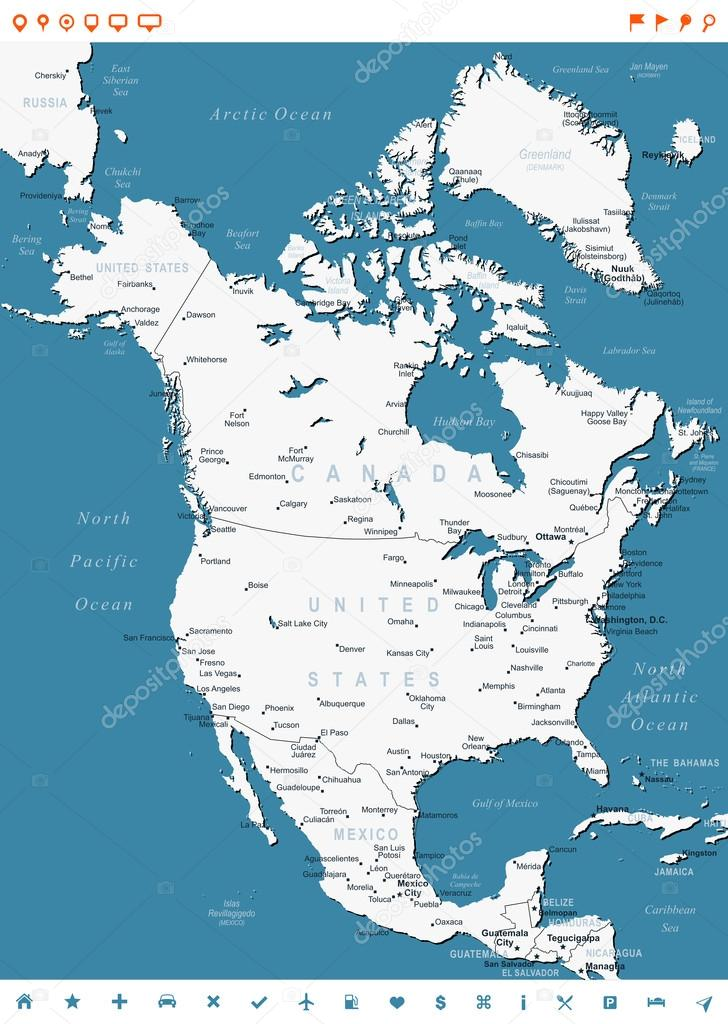 North America Map And Navigation Labels Illustration \u2014 Stock: North America Map Names At Codeve.org