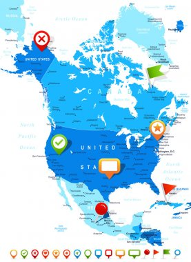 North America - map and navigation icons - illustration.