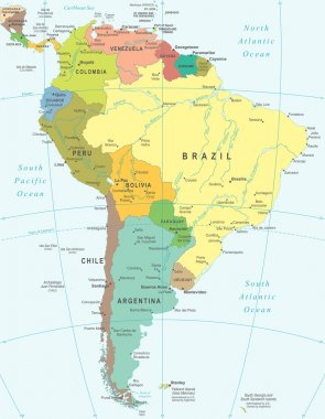 South America - map - illustration.