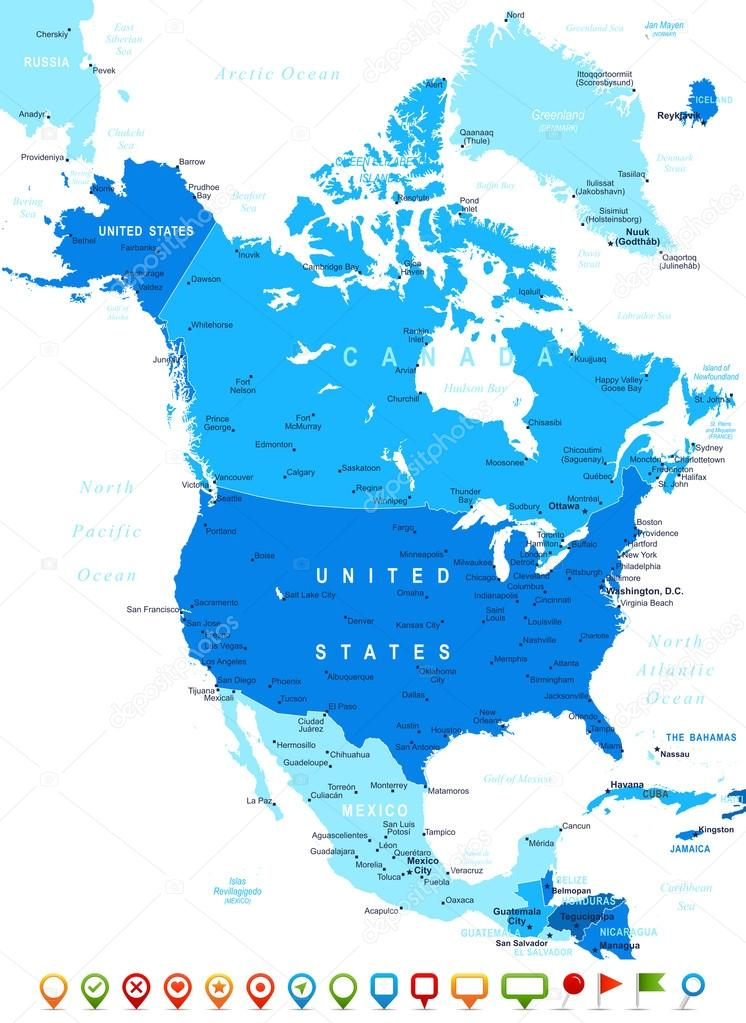 North America map and navigation icons illustration Stock