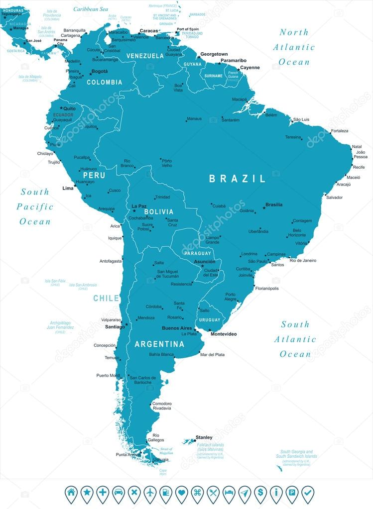 South America map and navigation labels illustration Stock