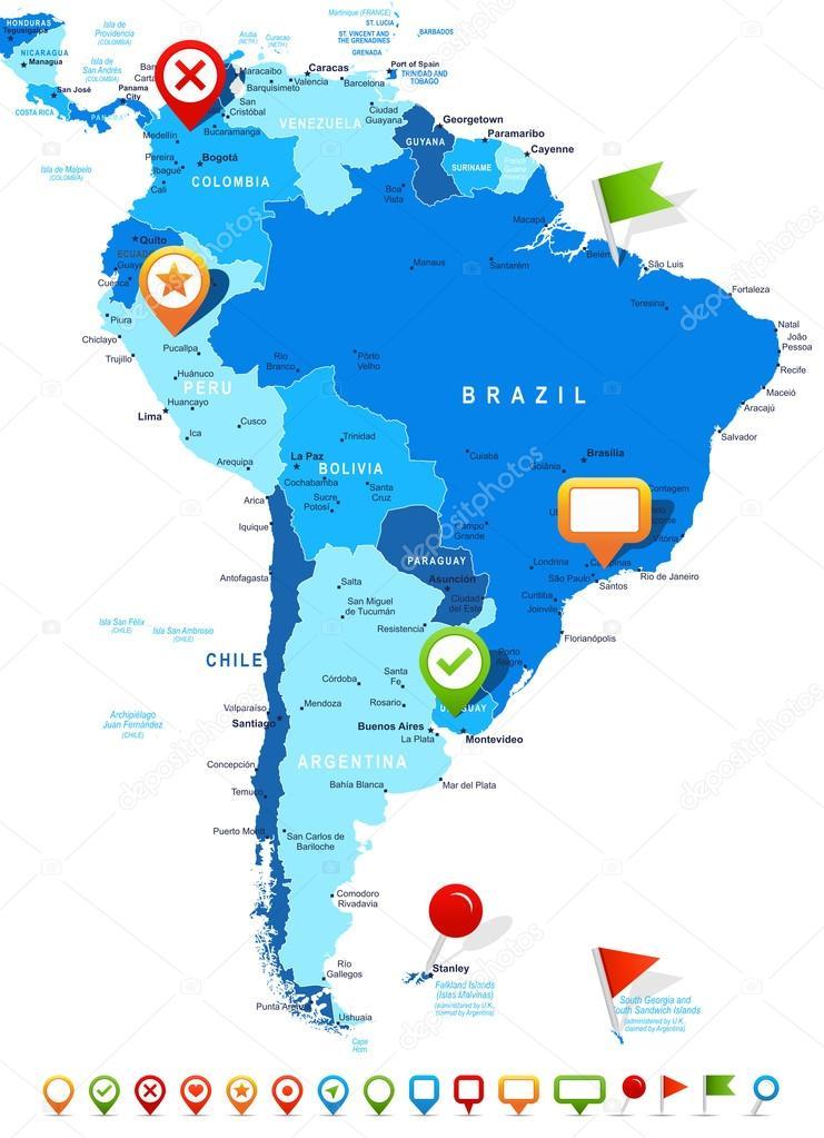 América del sur - iconos de mapa y navegación - ilustración ...