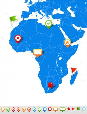 Africa map and navigation icons - Illustration.