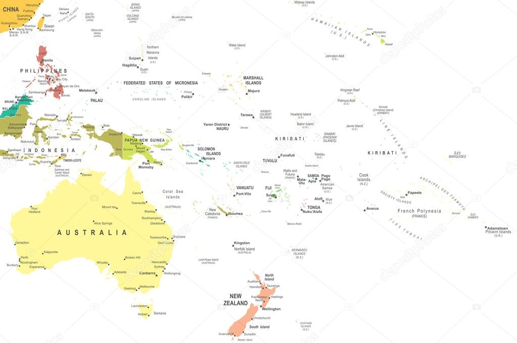 Australia y Oceania - Mapa - ilustración — Vector de stock ...