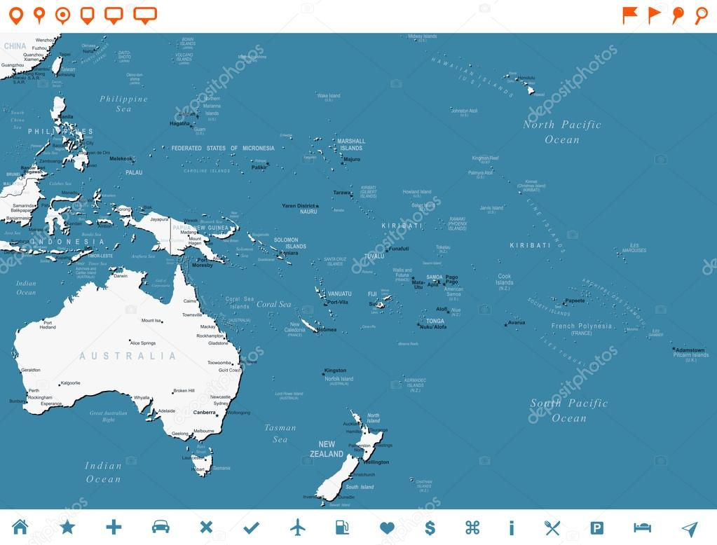 Australia and Oceania - map and navigation labels ...