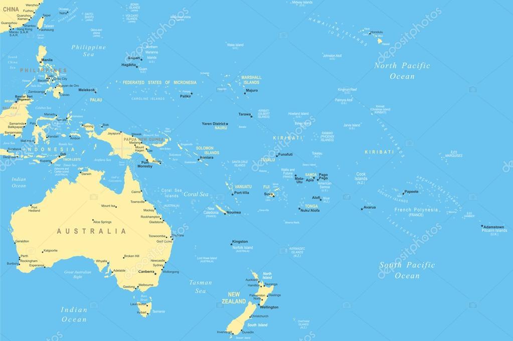Australia and Oceania - map - illustration. — Stock Vector ...