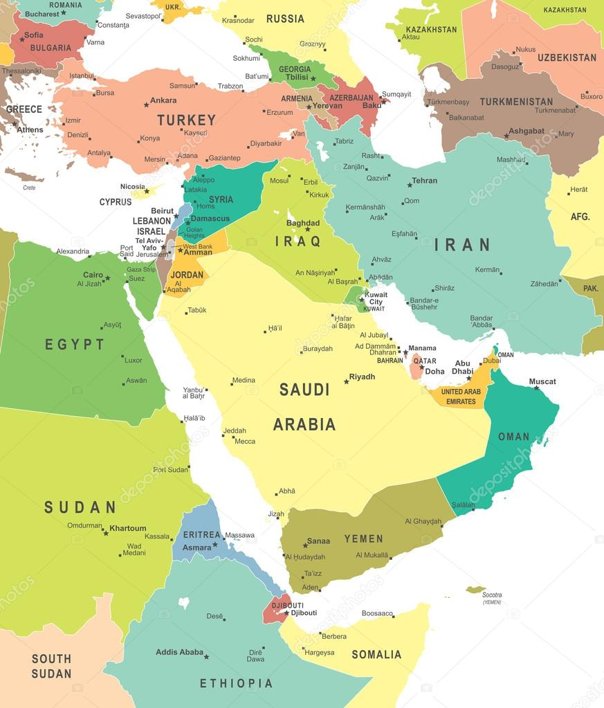 Middle East and Asia - map - illustration.