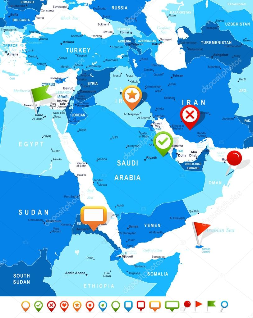 Middle East And Asia Map And Navigation Icons Illustration