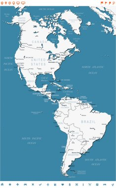 North and South America - map and navigation labels - illustration.