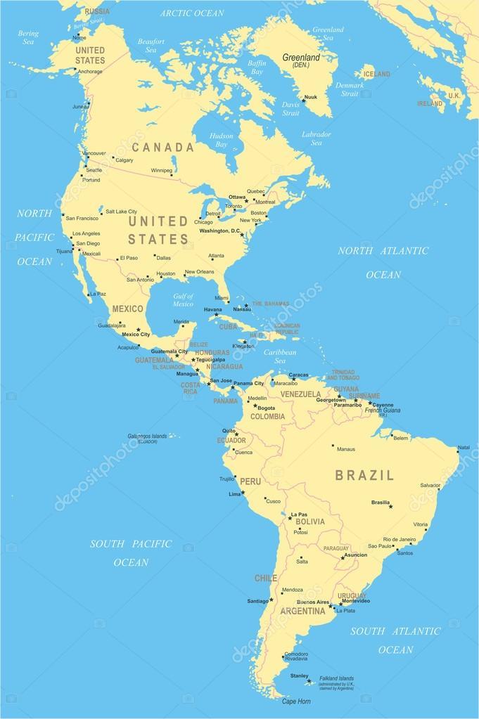 észak és dél amerika térkép Észak  és Dél Amerika   Térkép   illusztráció — Stock Vektor  észak és dél amerika térkép