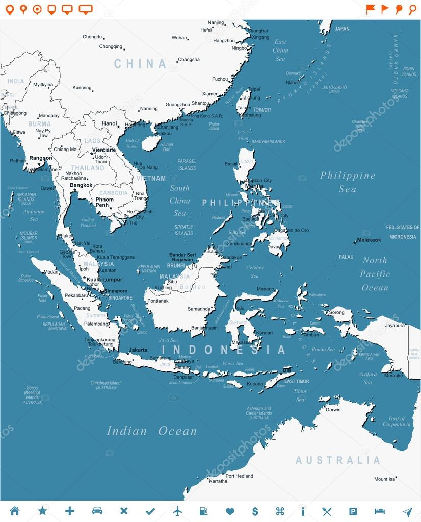 Southeast Asia map and navigation labels illustration Stock
