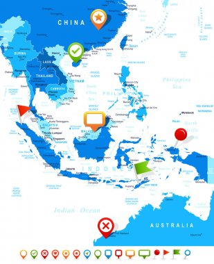 Southeast Asia - map and navigation icons - illustration.
