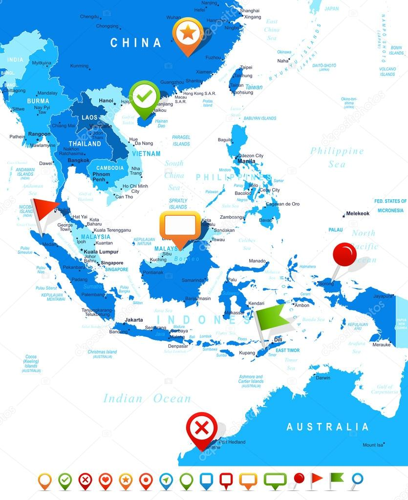 Southeast Asia Map   Highly Detailed Vector Illustration. Image Contains  Land Contours, Country And Land Names, City Names, Water Object Names, ...