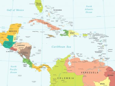 Central America - map - illustration.