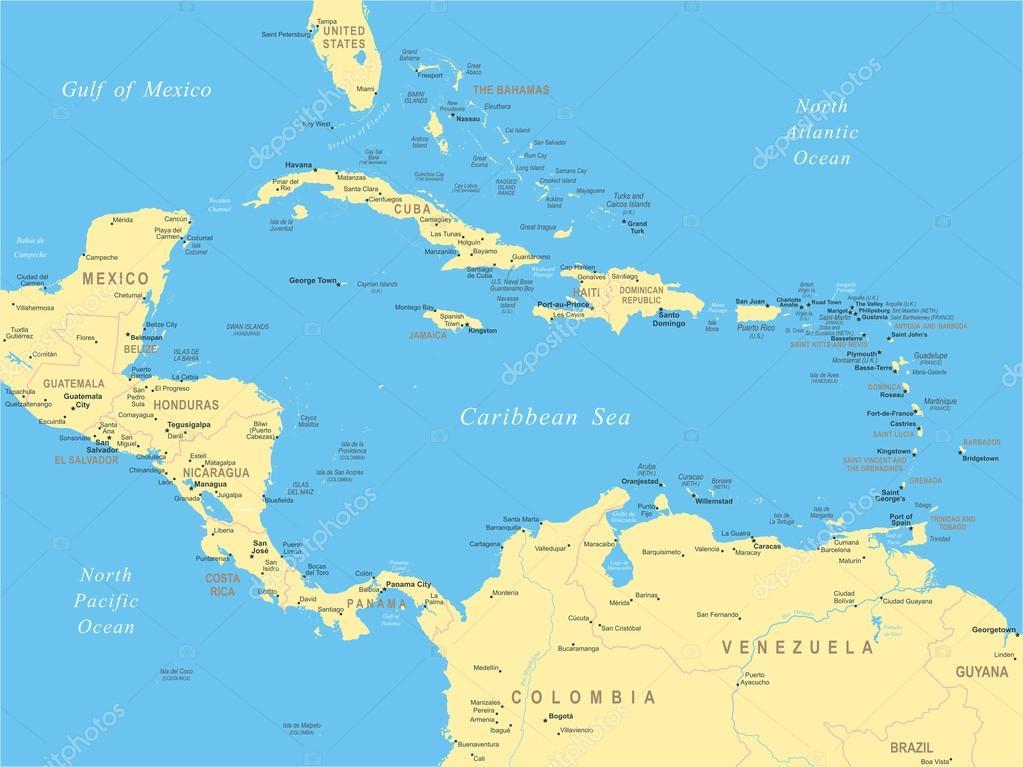 közép amerika térkép Közép Amerika   Térkép   illusztráció — Stock Vektor © dikobrazik  közép amerika térkép