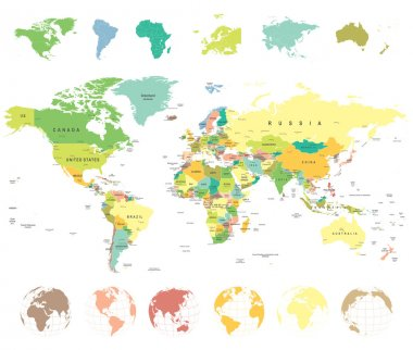 World Map and Globes - illustration.
