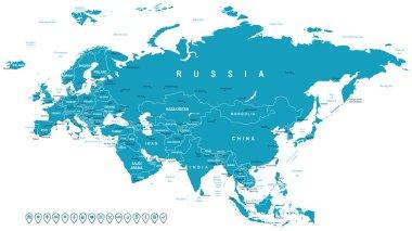 Eurasia - map and navigation labels - illustration.