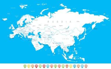 Eurasia - map, navigation icons - illustration.