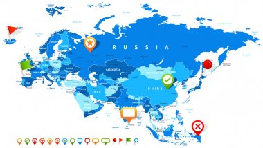 Eurasia - map and navigation icons - illustration.