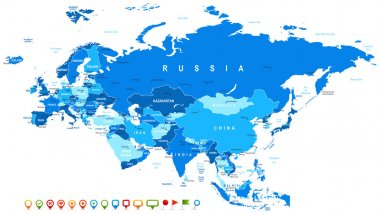Eurasia - map and navigation icons - illustration.