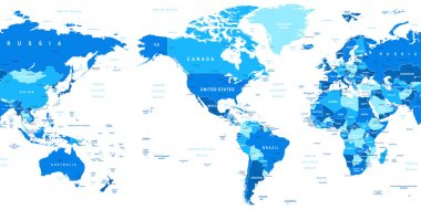 World Map - America is in the center.
