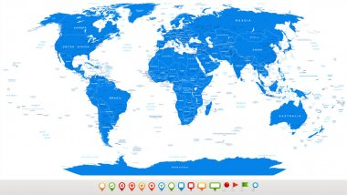Blue World Map and navigation icons - illustration.