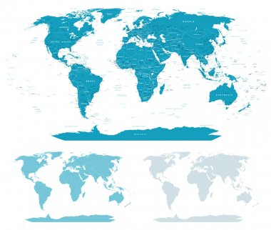 Blue-green World Map - borders, countries and cities - illustration.