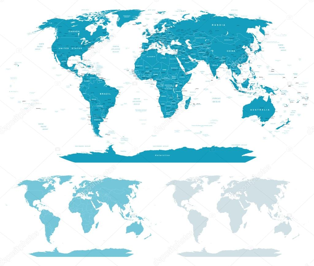 Blue green world map borders countries and cities world maps with different specification there are highly detailed countries cities water objects country contours world contours gumiabroncs Image collections