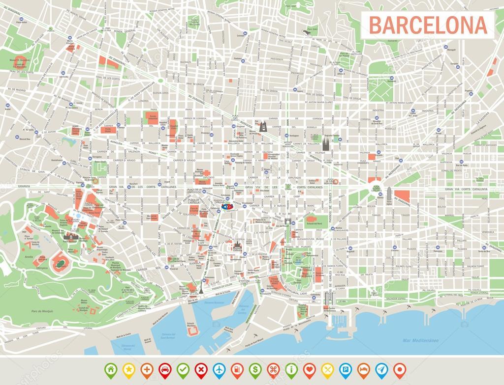 barcelona térkép Barcelona Térkép és navigációs ikonok — Stock Vektor © dikobrazik  barcelona térkép
