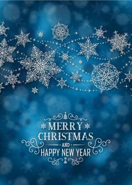 Christmas Vertical Poster - Illustration. Christmas Dark Blue - Short Text Portrait