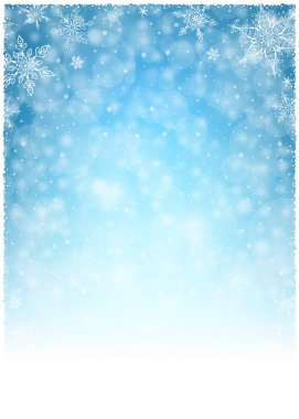Christmas Winter Frame - Illustration. Christmas White Blue - Empty Background Portrait