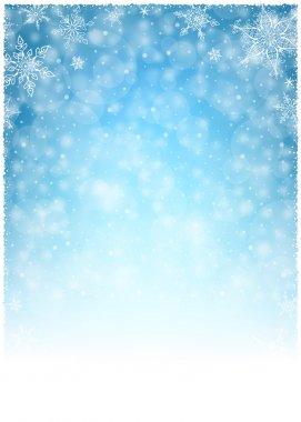 Christmas Winter Frame - Illustration. Christmas White Blue - Empty Background Portrait