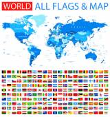 Fotografie All Flags and World Map.