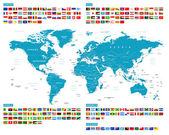 Fotografie All Flags and World Map. Murena.