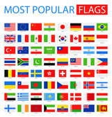 Fotografie Most Popular Flags - Vector Collection.