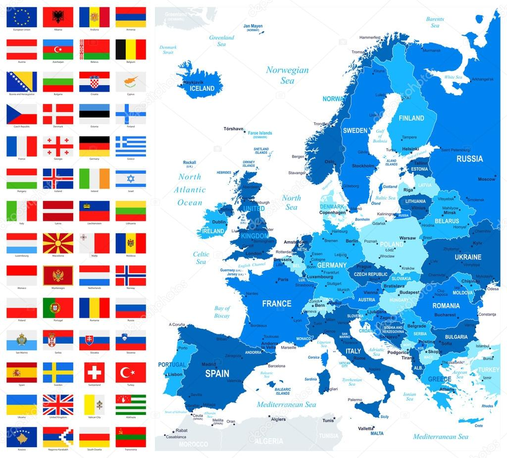 map and flags of europe full vector collection stock vector