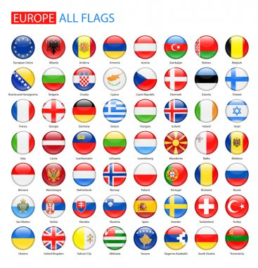 Glossy Round Flags of Europe - Full Vector Collection.