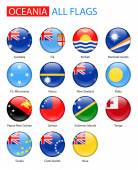 Round Glossy Flags Of Oceania - Full Vector Collection.