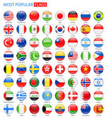 Round Glossy Most Popular Flags - Vector Collection.