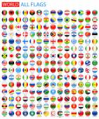 Round Glossy All World Vector Flags.