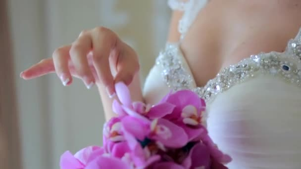 Bride With Her Beautiful Bouquet of Orchids