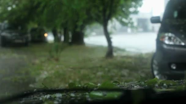 Vista dellautomobile che è tempo di una pioggia di grandine