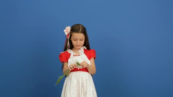 Girl On A Blue Background