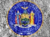 Zášť kámen malované New York pečeť vlajky
